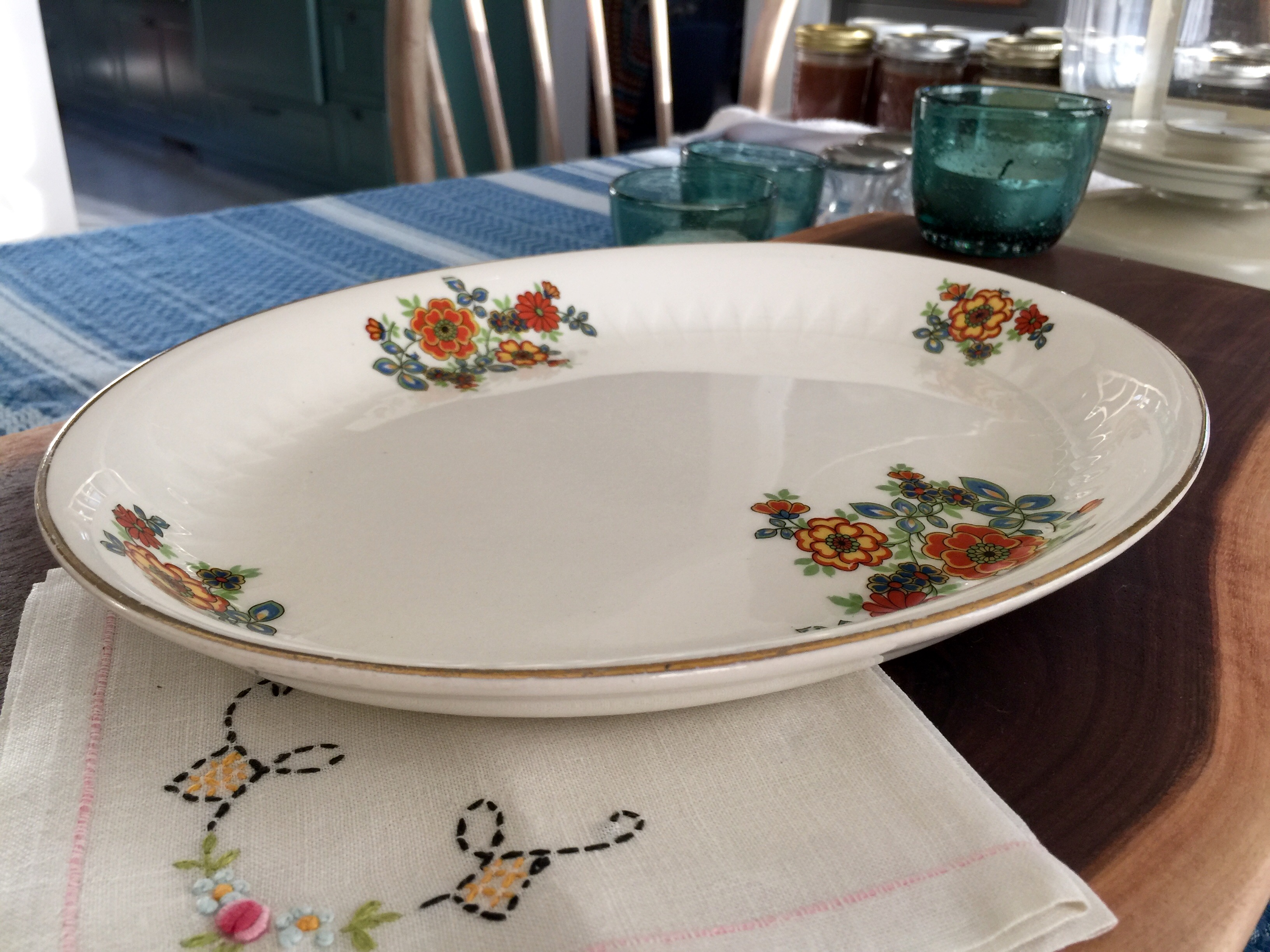 For Sale :: 1940's Shallow Oval Serving Platter; $30