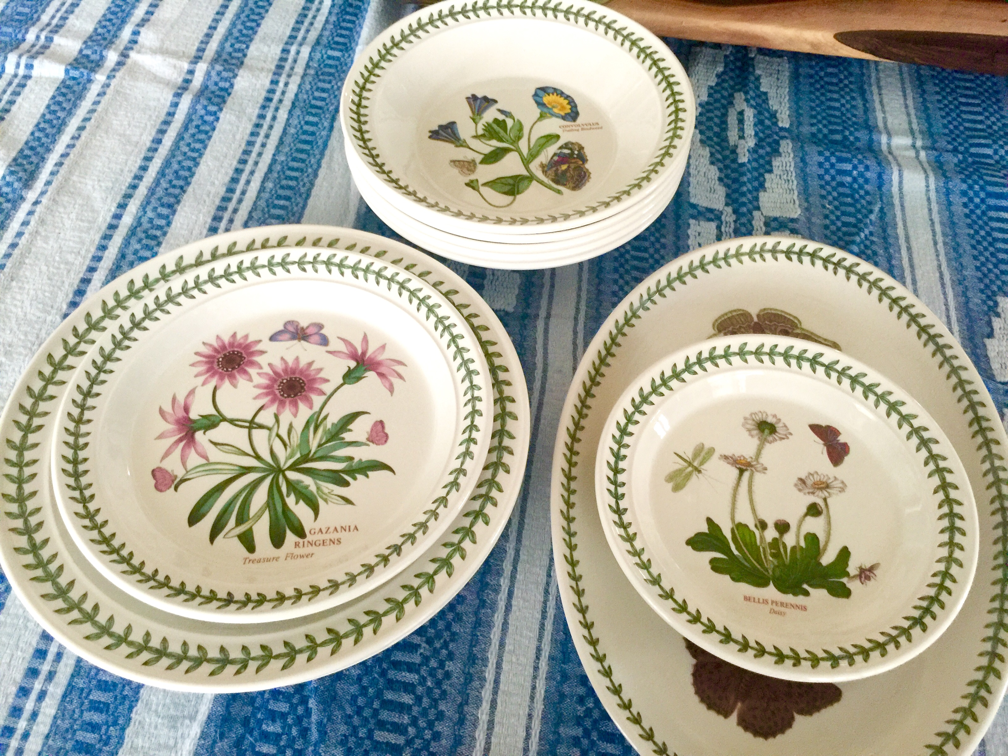 "This is a sweet set of vintage Portmeirion ""Botanic Garden"" dishes! There are 3 types of marks on these dishes. One 10½"" plate has the second oldest mark, a serving platter has an oval mark & the remaining have a mark found on plates dated between the 70's & early 90's ((both types noted in below photos)). Let me get straight to itemizing what I have available:   Priced to sell!! Will sell as a set or as individual pieces!"